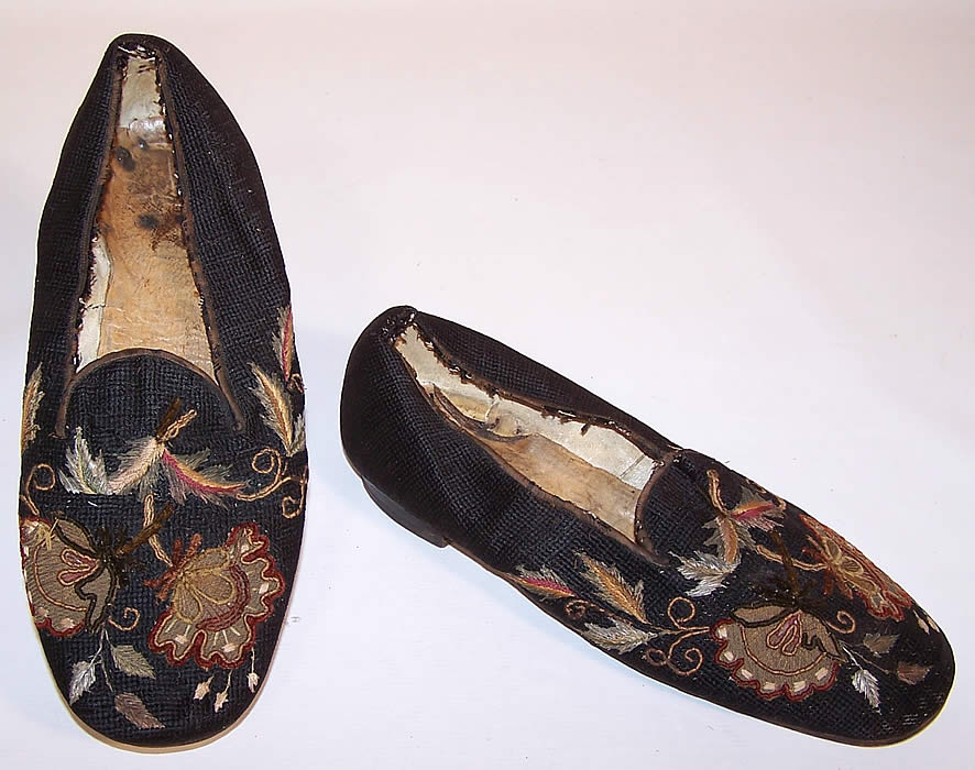 Victorian Gentlemen's Crewel Embroidery Needlepoint Slipper Shoes