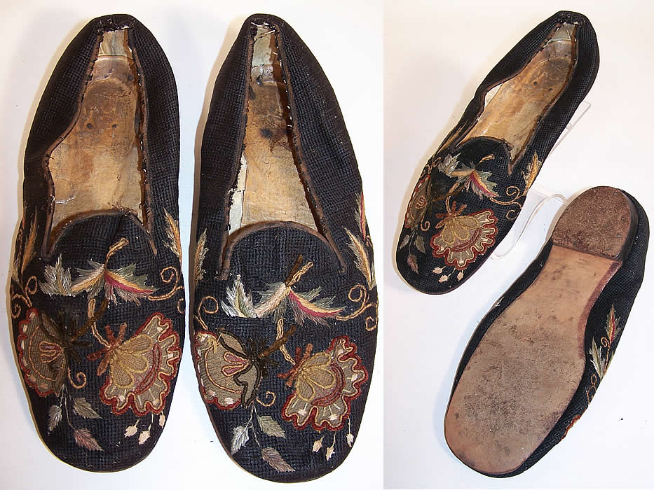 Victorian Gentlemen's Crewel Embroidery Needlepoint Slipper Shoes two views