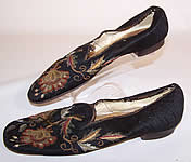 Victorian 1860s Gentlemen's Crewel Embroidery Needlepoint Slipper Shoes