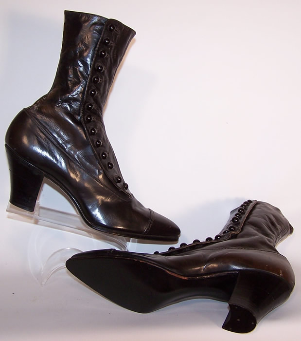 Unworn Victorian Women S Black Leather High Top Button Boots