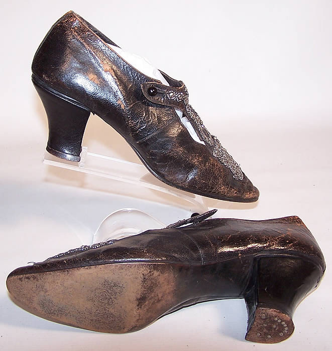 Victorian Black Leather Steel Cut Beaded Heart Shape Punch Work Shoes