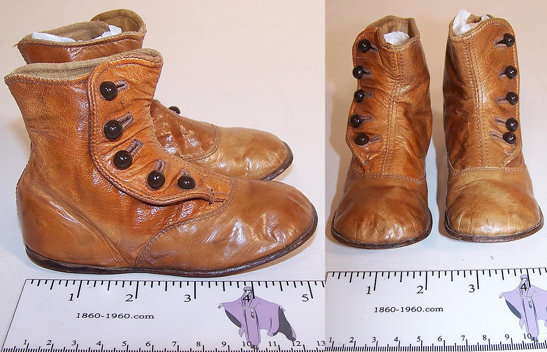 Victorian Graceful Tan Leather High Button Button Baby Boots Childs Shoes side and front views