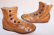 Victorian Graceful Tan Leather High Button Button Baby Boots Childs Shoes