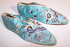 Victorian Turquoise Blue Silk Embroidered Chinese Shanghai Slipper Shoes