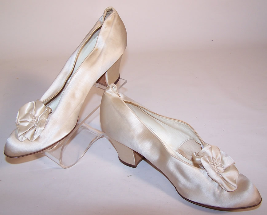 Edwardian Jordan Marsh Co White Silk Rosette Bridal Wedding Shoes