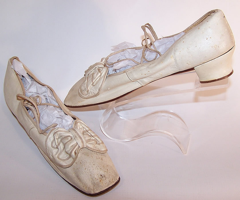 Victorian Wedding White Kid Bow Trim Ribbon Ties Straight Sole Shoes