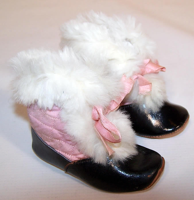Edwardian Pink Quilted White Fur Trim Winter Baby Boots Snow Shoes