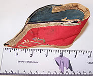 Antique Chinese Red Silk Embroidered Bound Foot Lotus Slipper Single Shoe