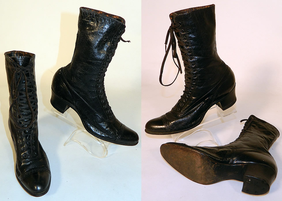 Victorian Slender Foot Shoes Black Leather High Top Lace