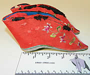 Antique Chinese Red Silk Embroidered Bound Foot Lotus Slipper Wedding Shoes