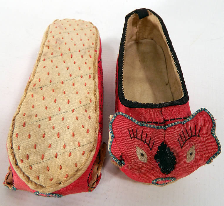 Antique Chinese Child's Red Silk Dragon Shoes
