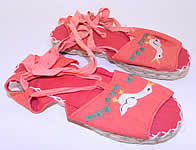 Vintage Red Linen Geese Ankle Tie Rope Sole Childrens Beach Sandal Shoes