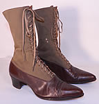 Victorian Antique Brown Wool & Leather Two Tone High Top Lace-up Boots