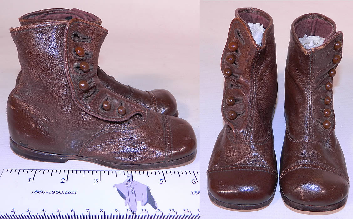 Victorian Antique Brown Amp Skylark Leather High Button Baby