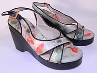 Vintage Icon Chinese Koi Fish Print Platform Wedge Sandal Shoes Size 6M