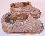 Antique Chinese Woven Braided Straw Hand Carved Wooden Farmers Shoes