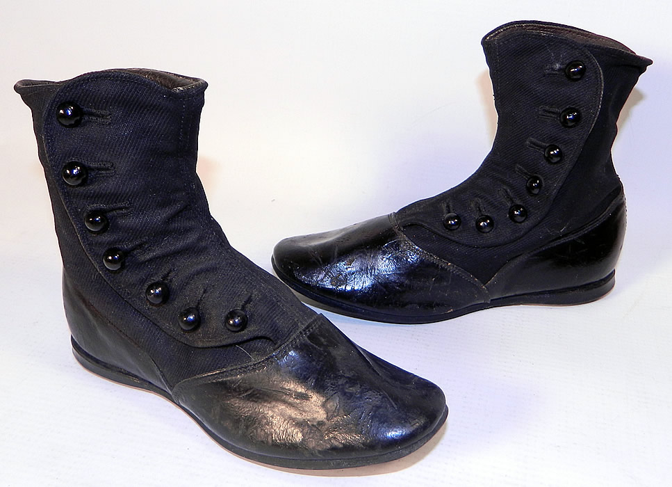 Victorian Black Wool Leather High Button Button Baby Boots