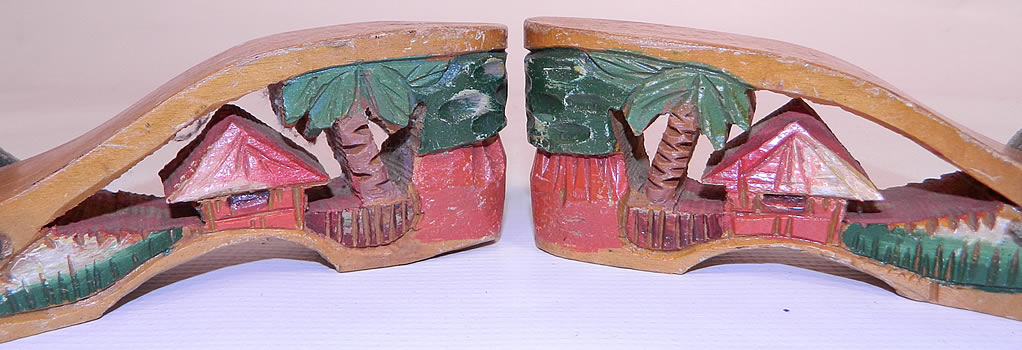 Vintage Philippines Hand Painted Carved Wooden Wedge Mules