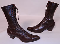 Victorian Vintage Antique Brown Leather High Top Lace-up Boots