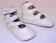 Victorian White Kid Leather High Button Strap Baby Boots Infant Childrens Shoes