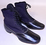Victorian Black Leather Navy Blue Wool Winter High Top Lace-up Boots
