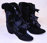 Vintage Victorian Black Velvet Fur Trim Winter Carriage Boots Shoes
