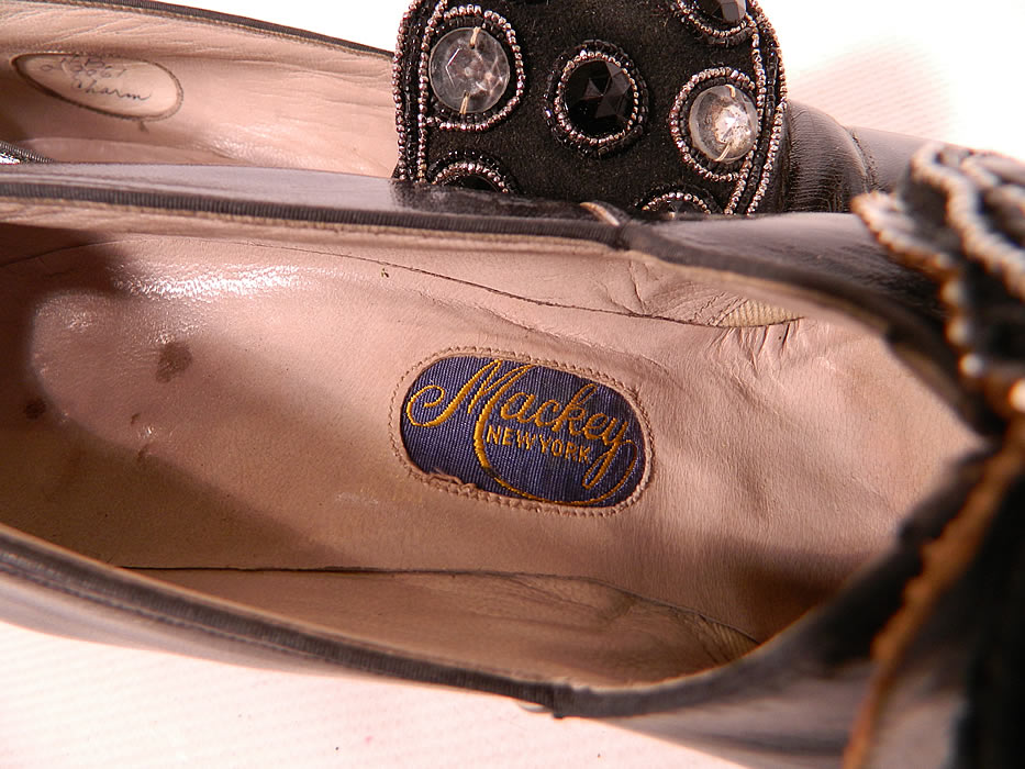 "Vintage Mackey NY Black Leather Art Deco Beaded Buckle Flapper Shoes.  They have a ""Mackey New York"" label inside."