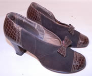 Vintage 1940s Brown Suede Leather Faux Alligator Print Bow Trim Swing Dance Shoes