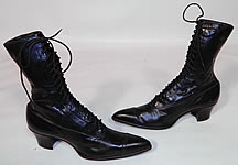 Vintage Poehlman Shoe Co Unworn Victorian Black Leather High Top Lace-up Boots