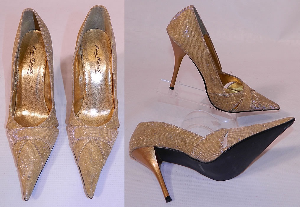 Vintage Anne Michelle Winklepickers Gold Lame Lamé Stiletto Heel Shoes. These elegant evening shoes have a winklepicker pump style, with a long sharp pointed toe, gold stiletto high heels and criss crossing strap instep vamps.