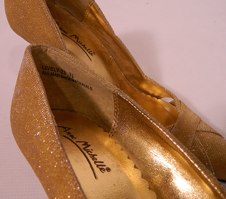 "Vintage Anne Michelle Winklepickers Gold Lame Lamé Stiletto Heel Shoes. There is a ""Anne Michelle"" label embossed on the insoles. The shoes measure 10 inches long, 3 inches wide, with 4 inch high heels and is stamped inside a size 7 1/2."