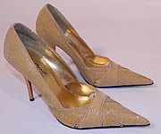 1960s Vintage Anne Michelle Winklepickers Gold Lamé Lame Stiletto Heel Shoes