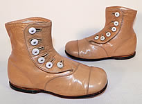Unworn Victorian Antique Tan Leather High Button Baby Boots Infant Childs Shoes