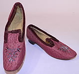 Victorian Vintage Burgundy Quilted Silk Steel Cut Beaded Velvet Trim Slipper Shoes