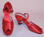 1930s Vintage O'Connor & Goldberg Red Silk Satin Ankle Strap Evening Shoes