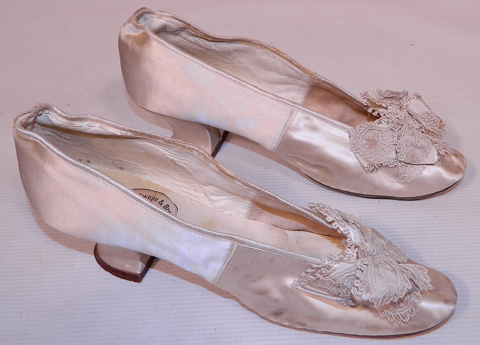 Lace And Silk Ribbon Bridal Shoes Vintage Style