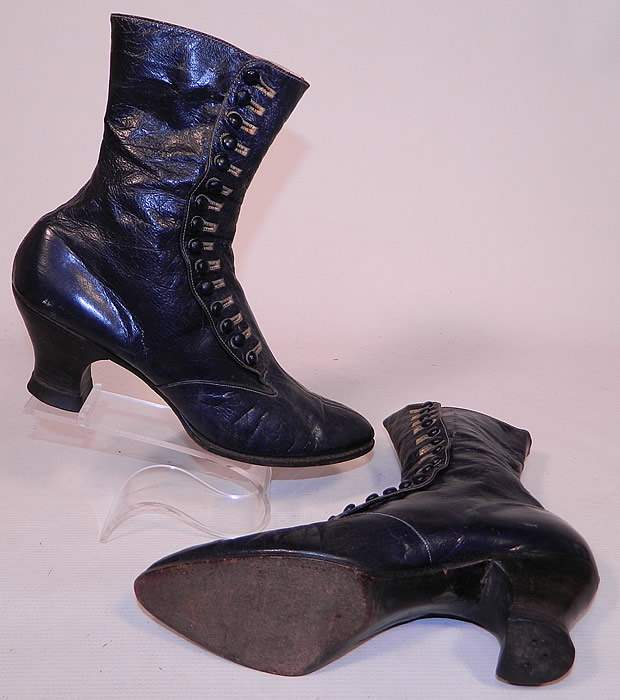 Victorian Women S Navy Blue Leather High Top Button Boots