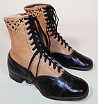 Edwardian Black & Tan Two Tone Leather Lacing Cutouts High Top Boots Vintage Shoes