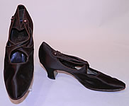 Vintage J&T Cousins Co NY Chocolate Brown Silk Button Strap Mary Jane Shoes