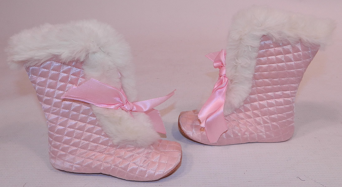 Vintage Ideal Baby Carriage Boot Pink Quilted White Fur