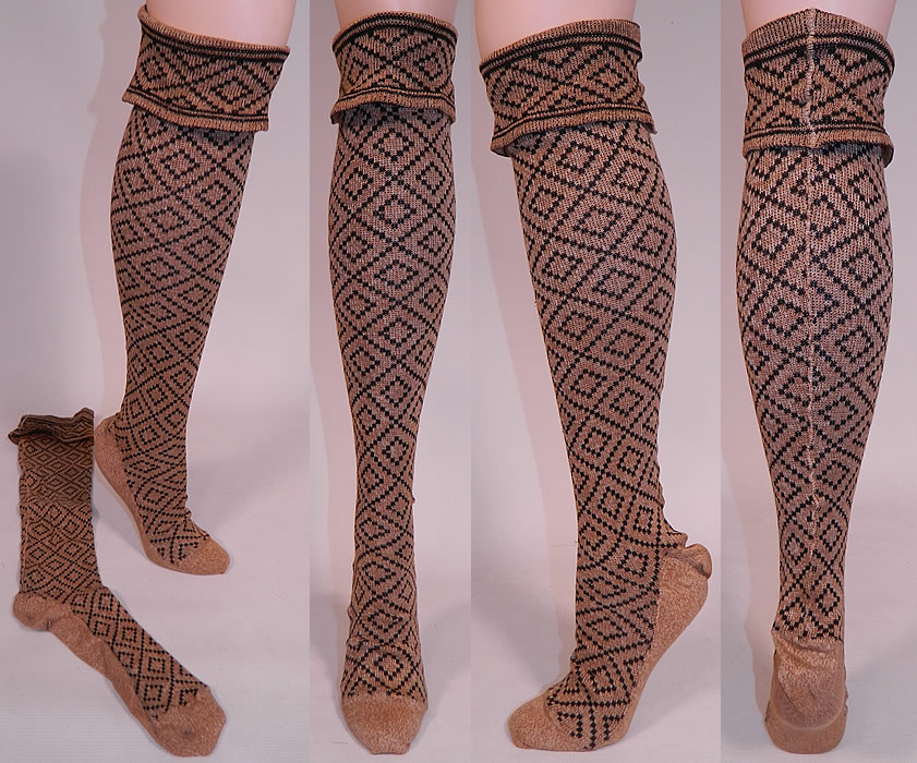 Victorian Brown Black Knit Argyle Diamond Pattern Thigh High
