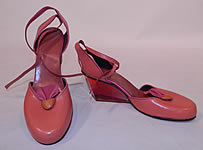 1984 Vintage Gaza Bowen Rose Leather Lucite Plexiglass Wedge Heel Sculptor Art Shoes