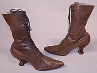 Victorian Antique Tan Brown Leather High Top Lace-up Boots Spool Heel Shoes
