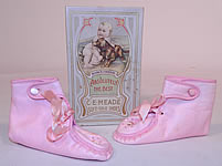 Edwardian Antique Pink Leather Embroidered Baby Boots & C.E. Meade Shoe Box