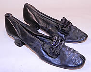 Victorian Vintage Black Leather Silk Bow Steel Cut Beaded Louis XV Heel Shoes