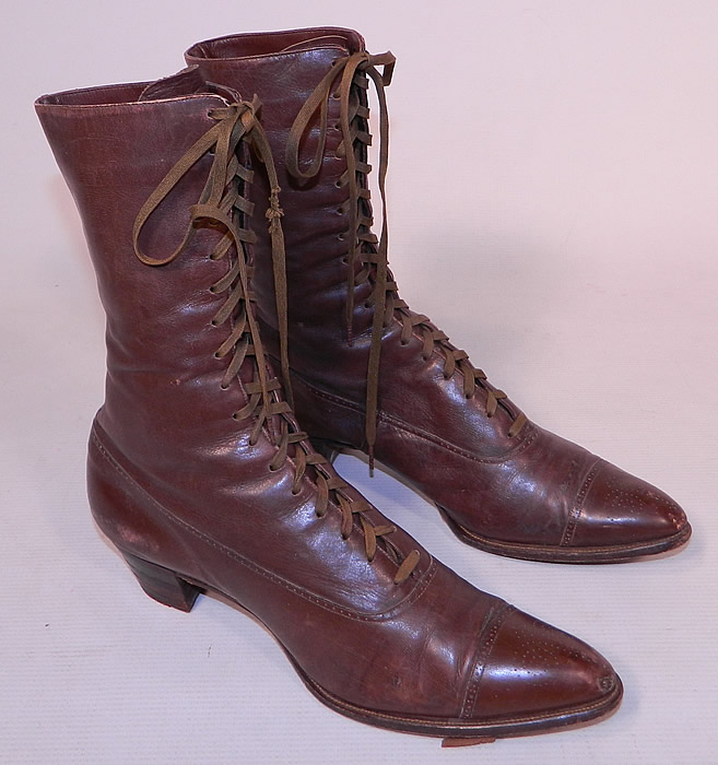 Victorian Antique Womens Brown Leather High Top Lace Up