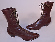 Victorian Antique Womens Brown Leather High Top Lace-up Boots Vintage Shoes