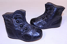 Victorian Antique Vintage Black Leather High Button Baby Boots Childs Shoes