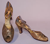 1930s Vintage E.T. Slatter Co. Boston Label Gold Leather Ankle Strap Evening Dance Shoes