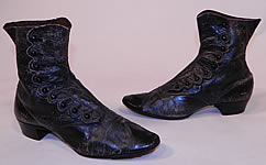 Victorian Antique Scalloped Side Button Black Leather High Top Boots Womens Shoes